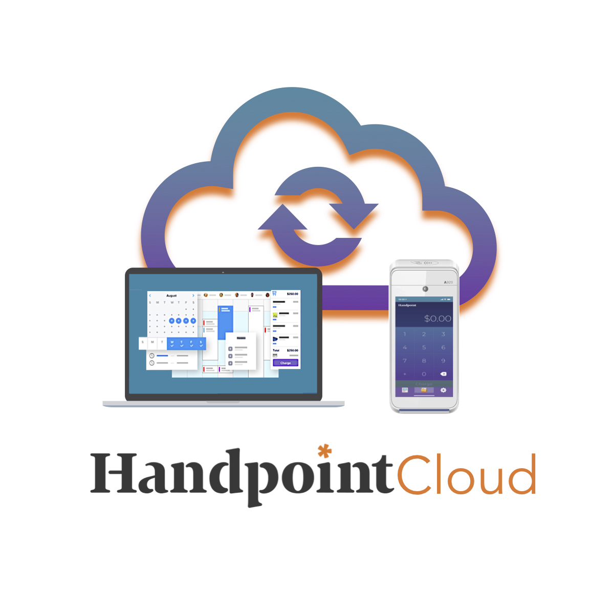 Handpoint Cloud SDK securely connects software with terminals via the cloud - graphic of cloud webapp on a laptop and best mobile terminal PAX A920 connected via payment API